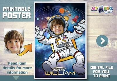 Astronaut Poster, Astronaut Decoration, Astronaut Wall Decor, Child Astronaut Decor, Universe Poster, Milky Way poster, Astronaut Gifts. 359