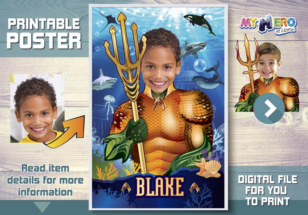 Aquaman Poster. Aquaman Underwater Poster. Atlantis Poster. Custom Aquaman Poster. Aquaman Decor. Aquaman Wall Decor. Aquaman Decal. 349