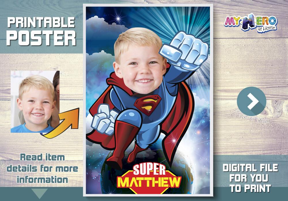 Superman Poster, Superman decoration, Superman art, Superman Room decor, Afiche de Superman, Superman Party Decor, Super Backdrop. 369