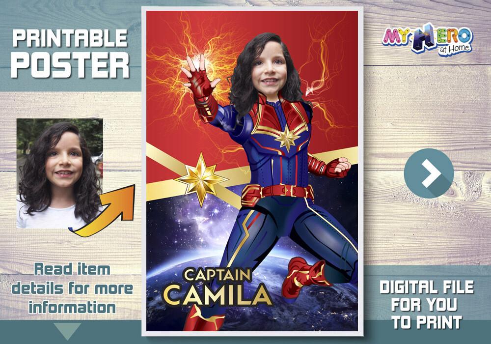 Captain Marvel Poster, Captain Marvel Decor, Captain Marvel Backdrop, Captain Marvel Party Decor, Captain Marvel Gifts. 373