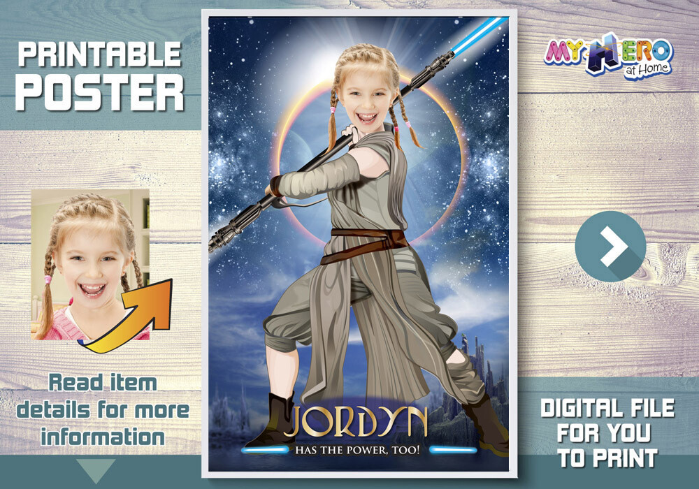 Jedi Rey Poster. Girl Star Wars Poster. Jedi Rey Decor. Custom Star Wars Poster for girls. Star Wars Girls Ideas. Jedi Rey Gifts. 360