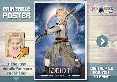 Jedi Rey Poster, Girl Star Wars Poster, Jedi Rey Decor, Custom Star Wars Poster for girls, Star Wars Girls Ideas, Jedi Rey Gifts. 360