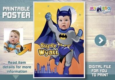 Baby Batman Poster, Custom Batman Poster, Baby Batman Backdrop, Baby Batman Nursery Decor, Baby Batman Wall Decor. Baby Batman Gifts. 364