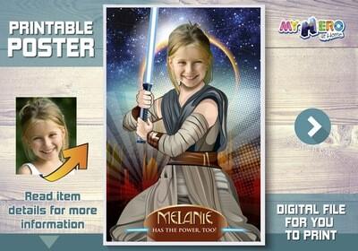 Girl Star Wars Poster, Jedi Rey Poster, Custom Star Wars Poster for girls, Girl Star Wars Room Decor, Girl Star Wars Party Decor. 361