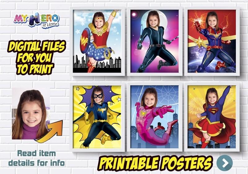 Super Hero Girls Posters, Super hero Girls Decor, Wonder Woman, Black Widow, Captain Marvel. Batwoman. Spider-Girl, Supergirl, Shuri. 426