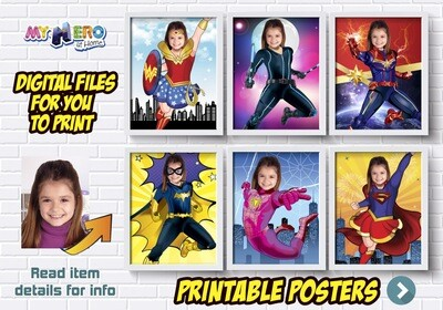 Super Hero Girls Posters, Super hero Girls Decor, Wonder Woman, Black Widow, Captain Marvel. Batwoman. Spider-Girl, Supergirl, Shuri. 426