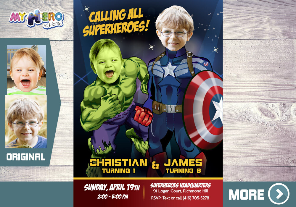 Hulk and Captain America Invitation, Super Siblings Invitation, Joint Avengers Invitation, Joint Avengers Party, Captain and Hulk, 169