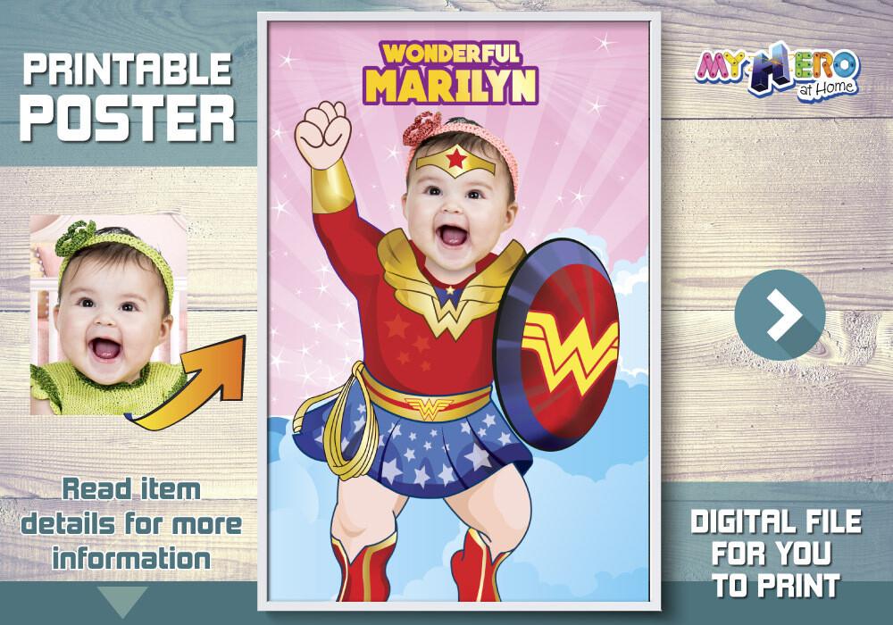 Baby Wonder Woman Poster, Baby Wonder Woman Room Decor, Baby Wonder Woman Party, Baby Wonder Woman Gift, Baby Wonder Woman Nursery. 427