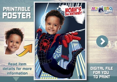 Spider-Verse Poster. Turn your child into Miles Morales for his Custom Superhero Poster. Spider-Verse Decor. Spiderverse Backdrop. 428