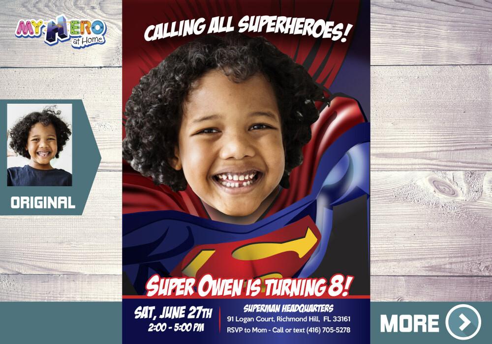 Superman Birthday Invitation, Superman party Invitation, Superman Digital Invitation, Superman Virtual Birthday, Superman theme party. 125