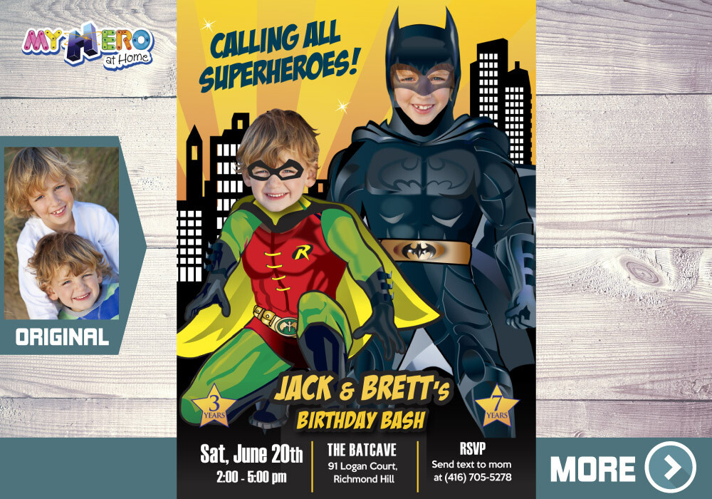 Batman and Robin Birthday Invitation. Batman and Robin Siblings Invitation. Batman and Robin Birthday Party. Joint Batman and Robin. 296