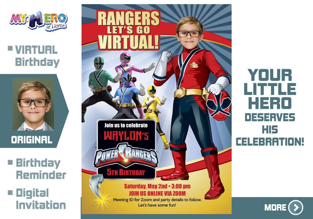Power Rangers Virtual Birthday Invitation. Red Power Ranger Virtual Party. Red Power Ranger Custom Poster. Power Rangers Quarantine. 001CV