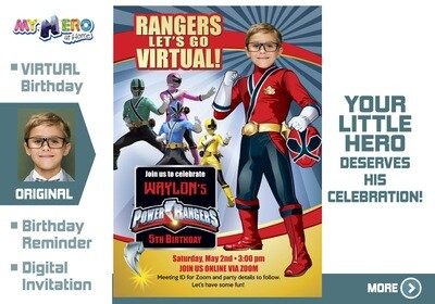 Power Rangers Virtual Birthday Invitation. Red Power Ranger Virtual Party. Red Power Ranger Custom Poster. Power Rangers Quarantine. 001CV