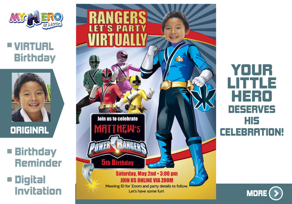 Power Rangers Virtual Birthday Invitation. Blue Power Ranger Virtual Party. Blue Power Ranger Custom Poster. Power Rangers Quarantine. 395CV