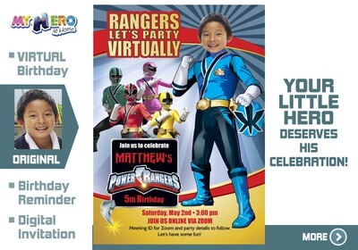 Power Rangers Virtual Birthday Invitation. Blue Power Ranger Virtual Party. Blue Power Ranger Custom Poster. Power Rangers Quarantine. 395CV