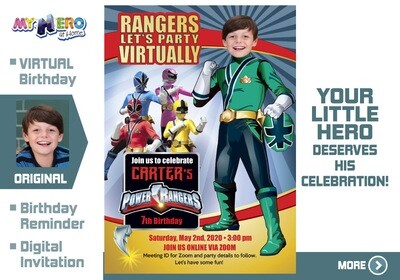 Power Rangers Virtual Birthday Invitation. Green Power Ranger Virtual Party. Green Power Ranger Custom Poster. Power Rangers Quarantine. 415CV