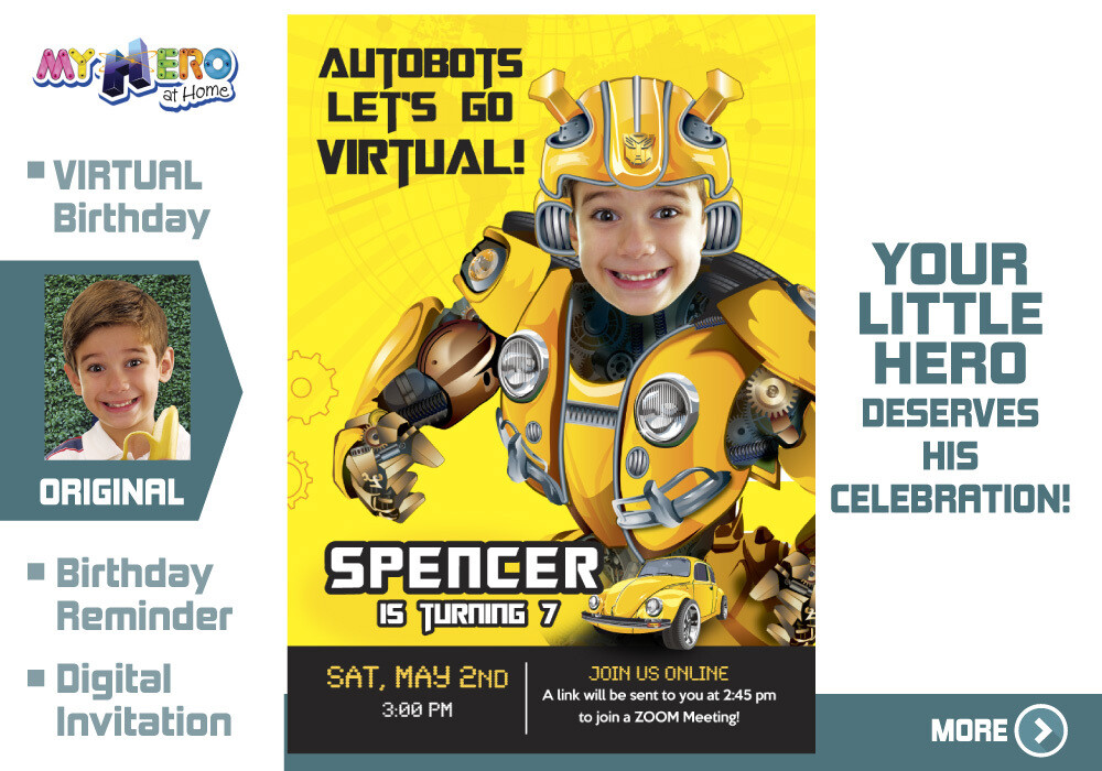 Bumblebee Virtual Birthday Invitation. Transformers Birthday Reminder. Bumblebee Virtual Party. Bumblebee Custom Poster. 291CV