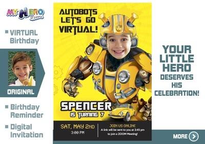 Bumblebee Virtual Birthday Invitation. Transformers Birthday Reminder. Bumblebee Virtual Party. Bumblebee Custom Poster. 291CV