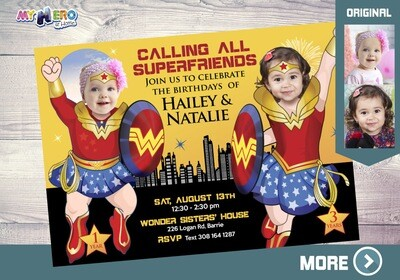 Wonder Woman Birthday Invitation for Sisters, Joint Wonder woman party, Wonder Sisters Birthday Invitation, Siblings Wonders Party. 131