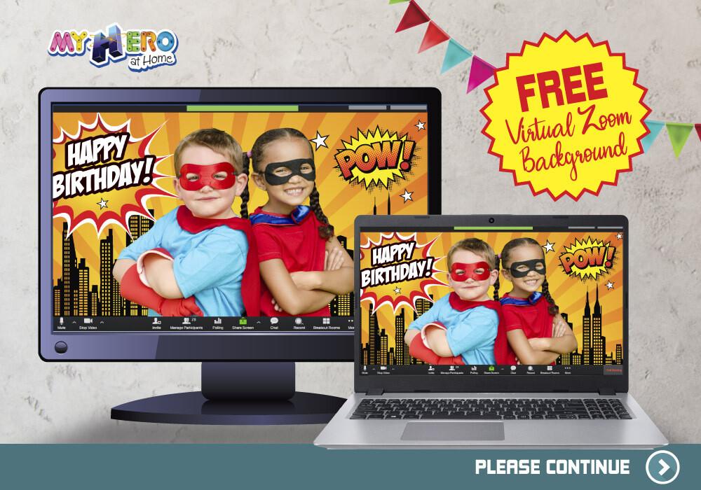 Free Zoom Virtual Superheroes Background. Free Zoom Virtual Happy Birthday Background. Personalize your Zoom Virtual Superheroes Party. ZB4