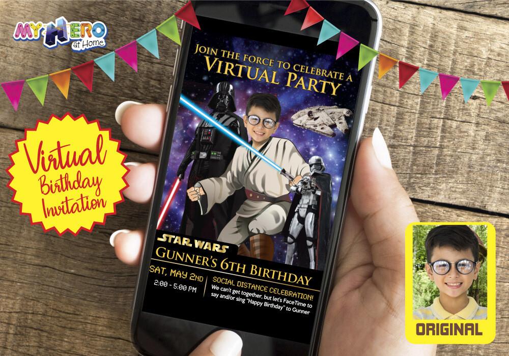 Star Wars Virtual Invitation. Jedi Virtual Party. Star Wars Virtual Birthday. Star Wars Birthday Parade. Star Wars Drive By party. 214CV
