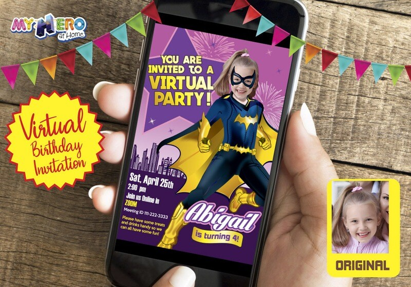 Batwoman Digital Birthday, Batwoman Virtual Invitation, Batwoman Drive By, Super Hero Girls Digital, Super Hero Girls Birthday Parade. 185CV