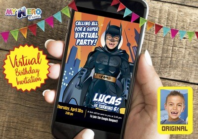 Batman Digital Invitation, Batman Virtual Birthday, Batman Virtual Party, Batman Drive By, Batman Birthday Parade, Batman Social Distance. 215CV
