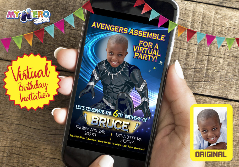 Black Panther Virtual Invitation. Black Panther  Birthday Reminder. Black Panther  Virtual Party. Black Panther Custom Poster. 161CV