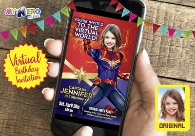 Captain Marvel Virtual Birthday Invitation. Captain Marvel Birthday Reminder. Captain Marvel Custom Poster. Super Hero Girl Quarantine. Girls Quarantine Birthday. 288CV
