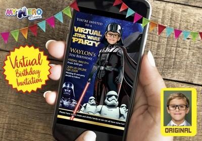 Darth Vader Virtual Birthday Invitation. Darth Vader Virtual Party Invitation. Darth Vader Custom Poster. Virtual Dark Side Party. 009CV