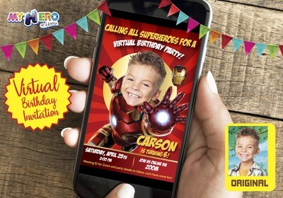 Ironman Virtual Birthday Invitation. Ironman Birthday Reminder. Ironman Virtual Party. Ironman Custom Poster. Avengers Quarantine Ideas. 098CV