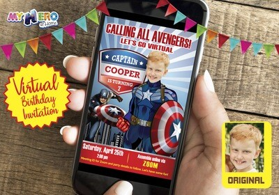 Captain America Virtual Invitation. Captain America Drive By Party. Captain America Virtual Party. Captain America Birthday Parade. 075CV