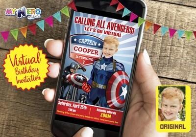 Captain America Virtual Invitation, Captain America Drive By Party, Captain America Virtual Party, Captain America Birthday Parade. 075CV