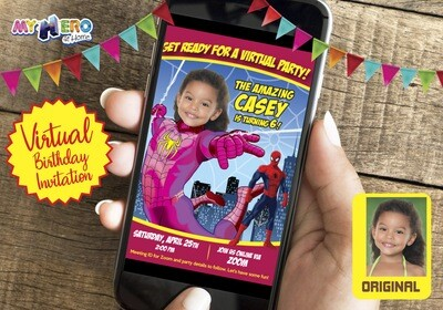 Spider-Girl Virtual Birthday. Pink Spidergirl Birthday. Spider-Girl Theme party. Spider-Girl Drive By. Spider-Girl Virtual Invitation. 391CV
