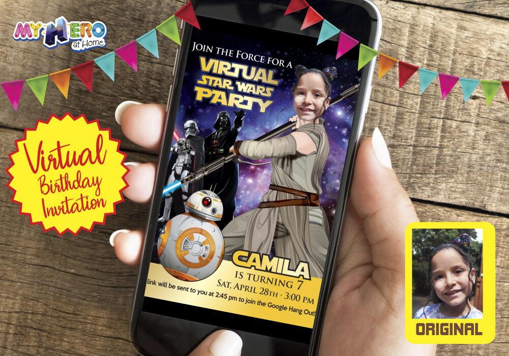 Girl Star Wars Digital Birthday Invitation, Jedi Rey Virtual Party, Girl Star Wars Virtual Birthday, Jedi Rey Digital Invitation. 006CV