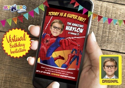 Spider-Man Birthday Reminder. Spider-Man Birthday Announcement. Spider-Man Custom Poster. Quarantine Birthday Ideas. 101CV