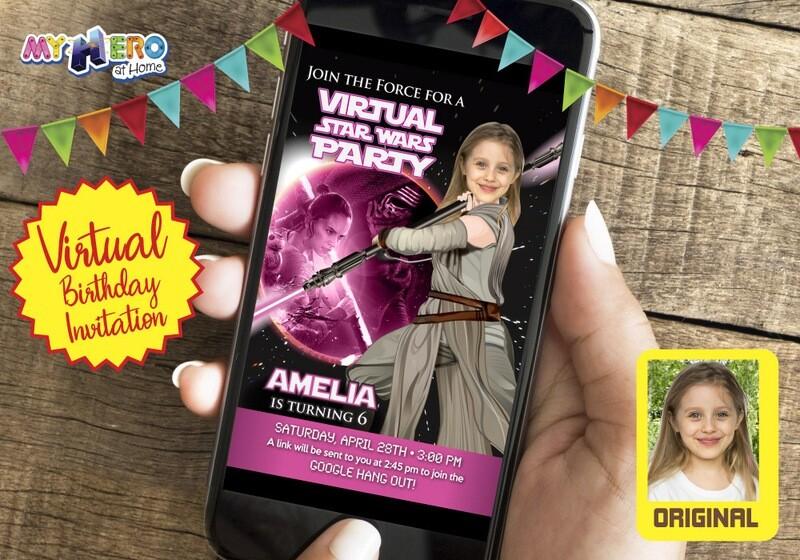 Star Wars Pink Black Invitation, Jedi Rey Pink Black Virtual, Jedi Rey Virtual Birthday, Jedi Rey Drive By, Star Wars Birthday Parade. 010CV