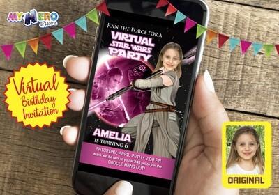 Star Wars Pink Black Invitation. Jedi Rey Pink Black Virtual. Jedi Rey Virtual Birthday. Jedi Rey Drive By. Star Wars Birthday Parade. 010CV
