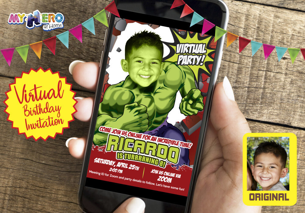Hulk Virtual Birthday Invitation, Hulk Virtual Birthday, Hulk Virtual Party, Hulk Drive By Birthday, Hulk Social Distance Party. 088CV