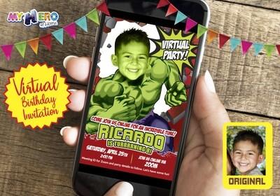 Hulk Virtual Birthday Invitation. Hulk Virtual Birthday. Hulk Virtual Party. Hulk Drive By Birthday. Hulk Social Distance Party. 088CV