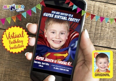 Superman Virtual Invitation. Superman Birthday Reminder. Superman Virtual Party. Superman Custom Poster. Justice League Quarantine Party. 125CV