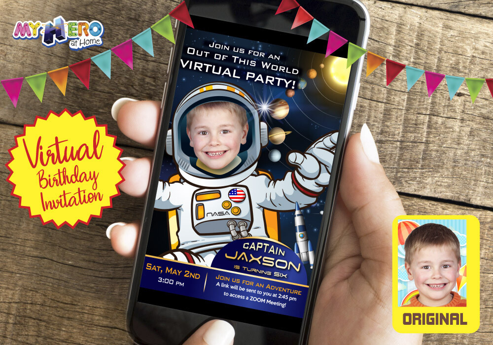 Astronaut Virtual Birthday Invitation. Astronaut Birthday Reminder. Astronaut Virtual Party. Astronaut Custom Poster. 235CV