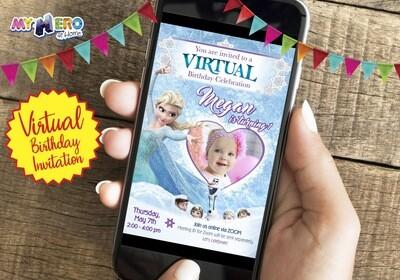 Frozen Virtual Birthday Invitation. Frozen First Birthday. Frozen Virtual Party. Frozen Zoom. Frozen Online Party. Frozen Drive By. 272CV