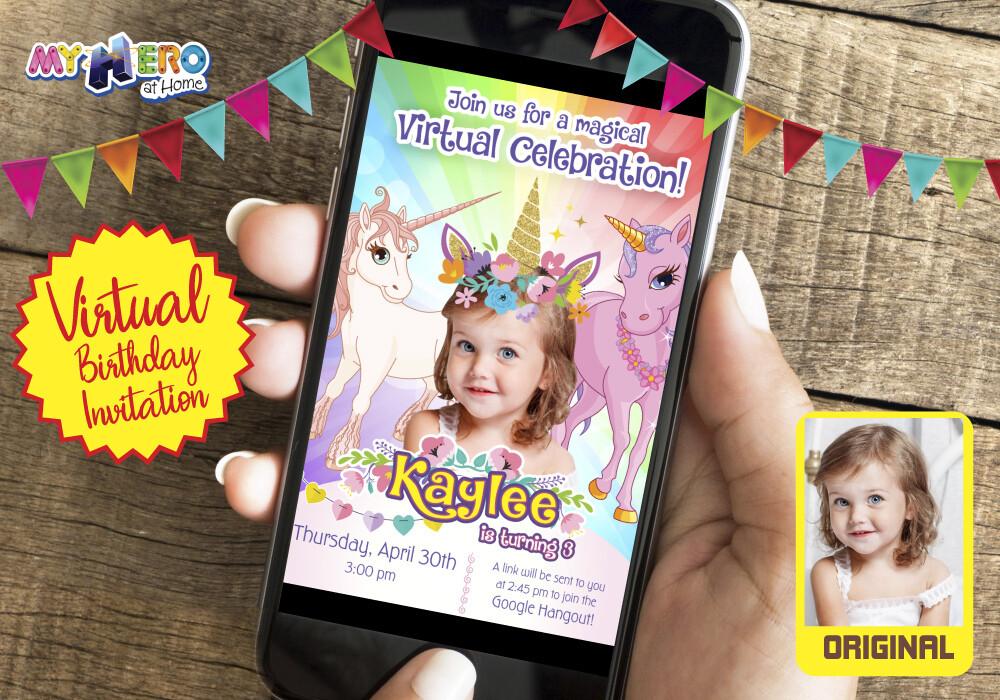 Unicorns Virtual Birthday Invitation. Unicorns Photo Invitation. Unicorns Virtual Party. Unicorns Digital. 286CV