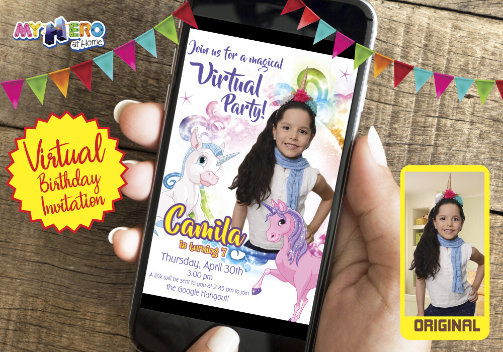 Unicorns Virtual Birthday Invitation, Unicorns Photo Invitation, Unicorns Virtual Party, Unicorns Digital. 286CV2
