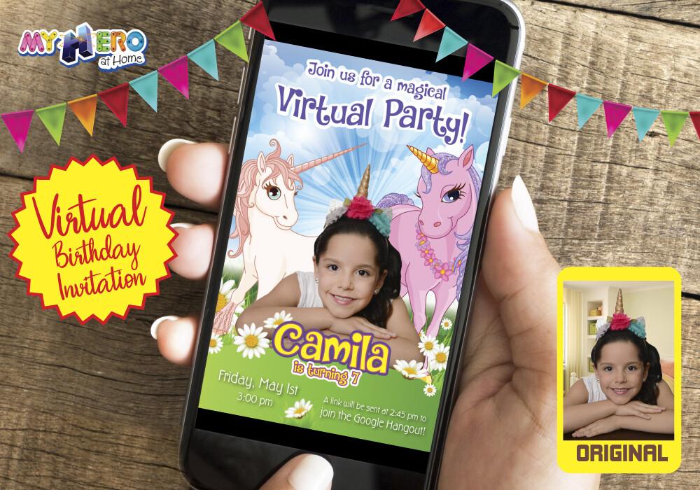 Unicorns Virtual party Invitation, Unicorns Drive By Party, Unicorns Photo Invitation, Unicorns Digital Invitation. 286CV3