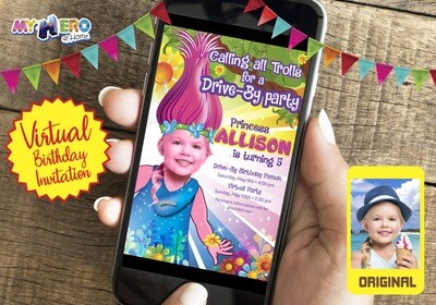 Trolls Virtual Birthday Invitation. Trolls Online party. Trolls Drive By Party. Princess Poppy Virtual Party. 201CV