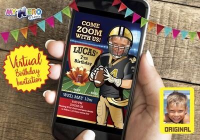Football Virtual Party Invitation, American Football Virtual Birthday,  Football Digital Invitation, Football Zoom. 323CV