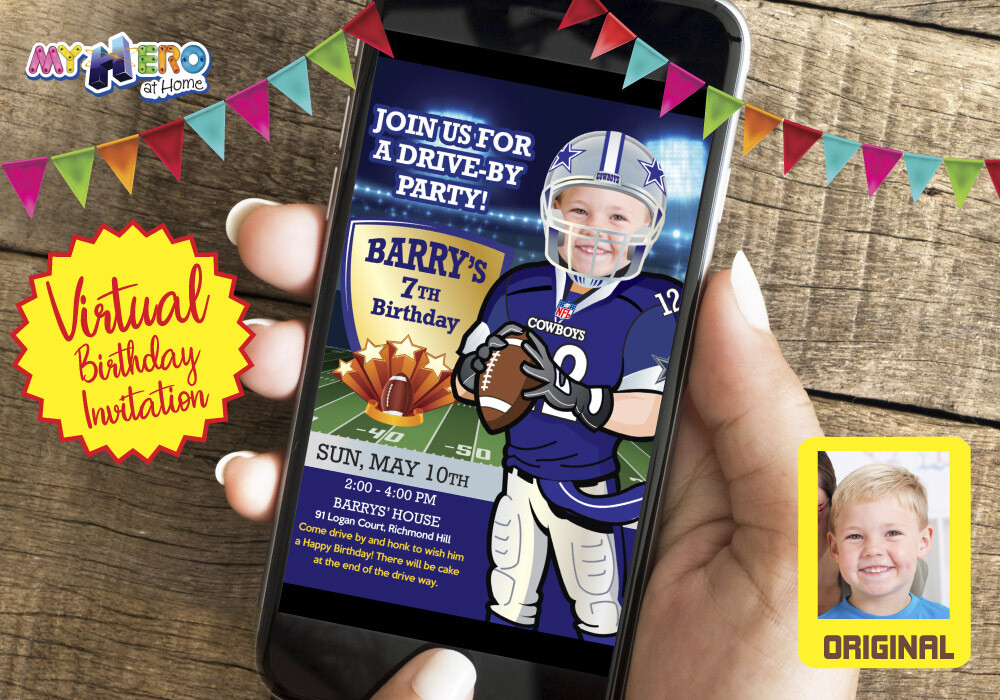 Football Virtual Party Invitation. American Football Virtual Birthday Ideas. Dallas Cowboys Birthday Invitation. Football Zoom. 421CV