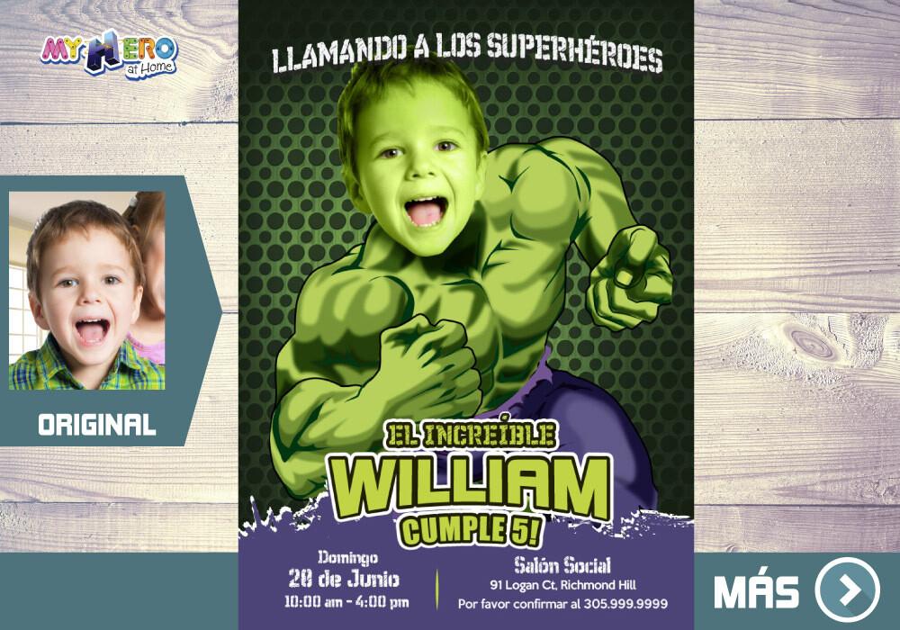 Hulk Invitación de Cumpleaños, Invitación Fiesta Hulk, Fiesta temática Hulk, Invitacion Hulk, Cumple Hulk. 089SP